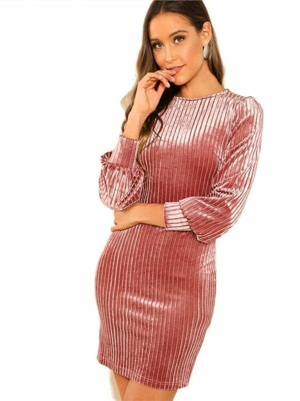 Elegant Pink Solid Ribbed Long Sleeve Velvet Dress
