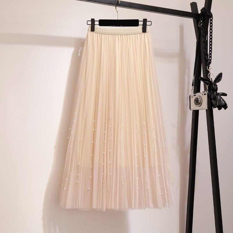 High Waist Mesh Tulle A Line Mid Calf Pleated Skirt