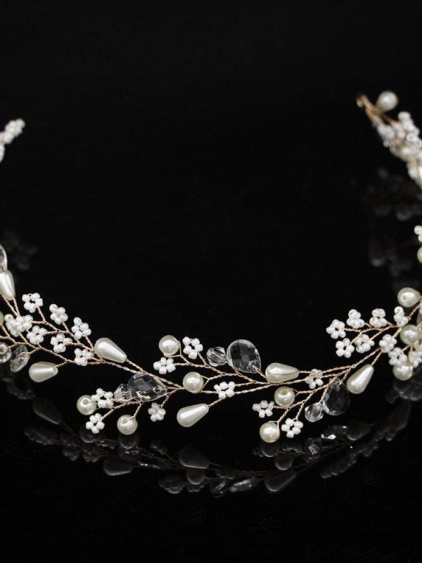 Silver Gold Pearl Flower Tiara Bride Headbands Wedding Hair Accessories