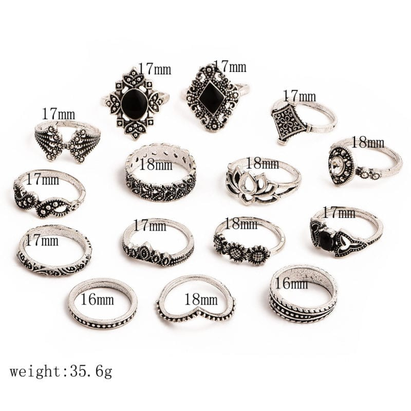 15 Pcs/set Bohemian Retro Crystal Flower Leaves Hollow Lotus Gem Silver Ring Set