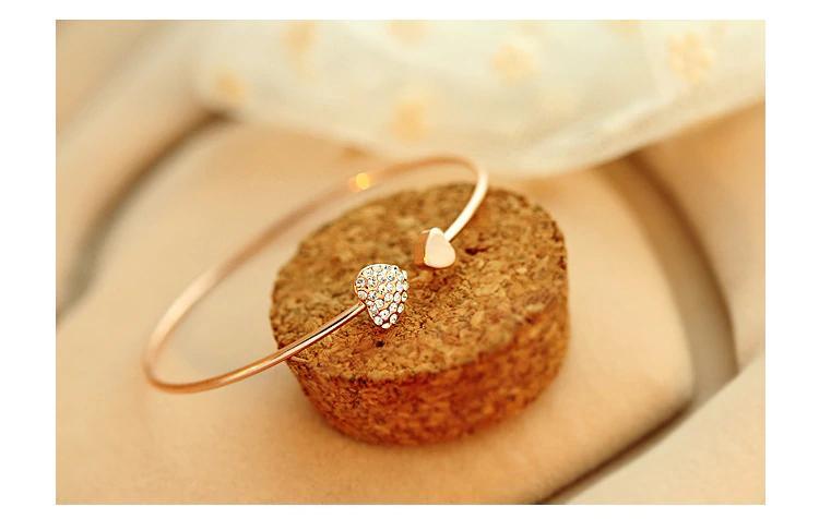 Adjustable Crystal Double Heart Bow Bilezik Cuff Opening Bracelet