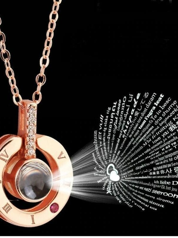 """Rose Gold&silver 100 Languages """"i Love You"""" Projection Necklace"""