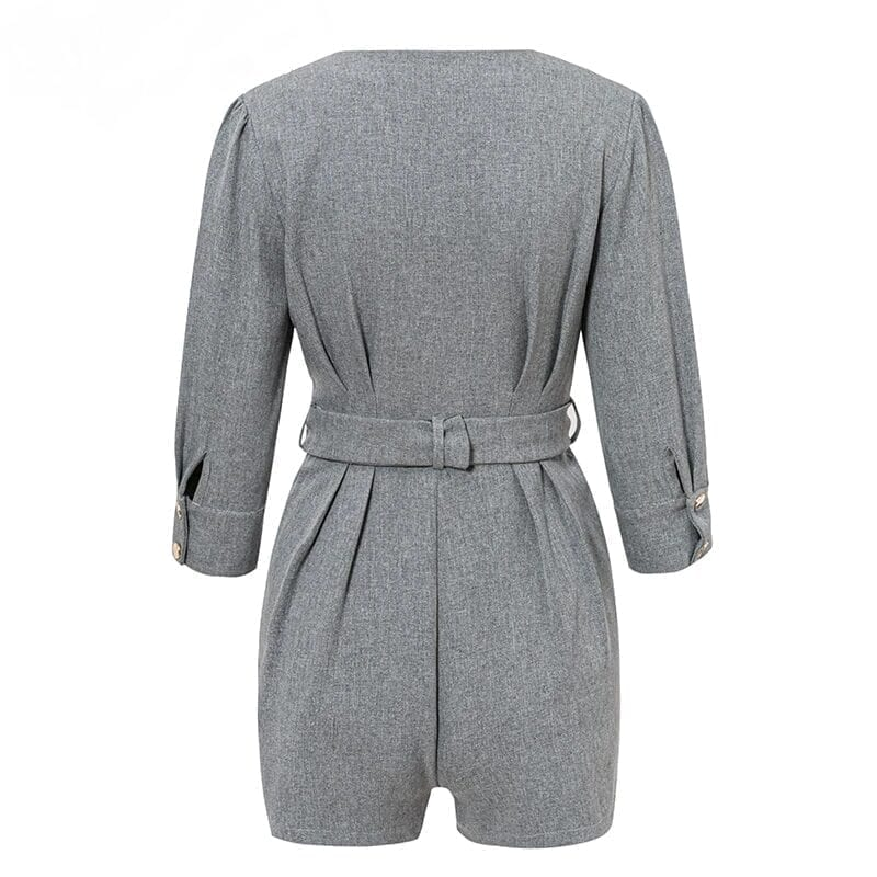Gray Button Office One Piece Work Jumpsuit Romper