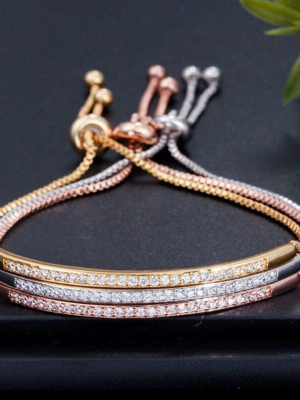 Elegant Zircons Adjustable Bracelet Bangle Women Jewelry