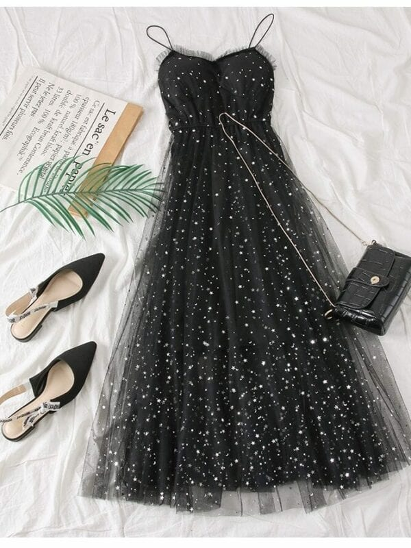 Sweet Mesh Spaghetti Strap Star Sequins Dress