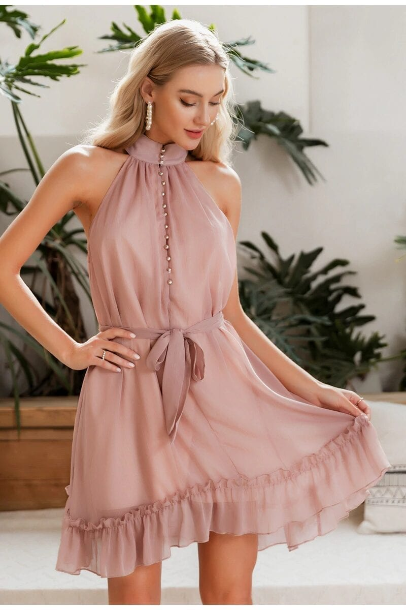 Sleeveless Solid Ruffled Sash Buttons Chiffon Beach Mini Dress