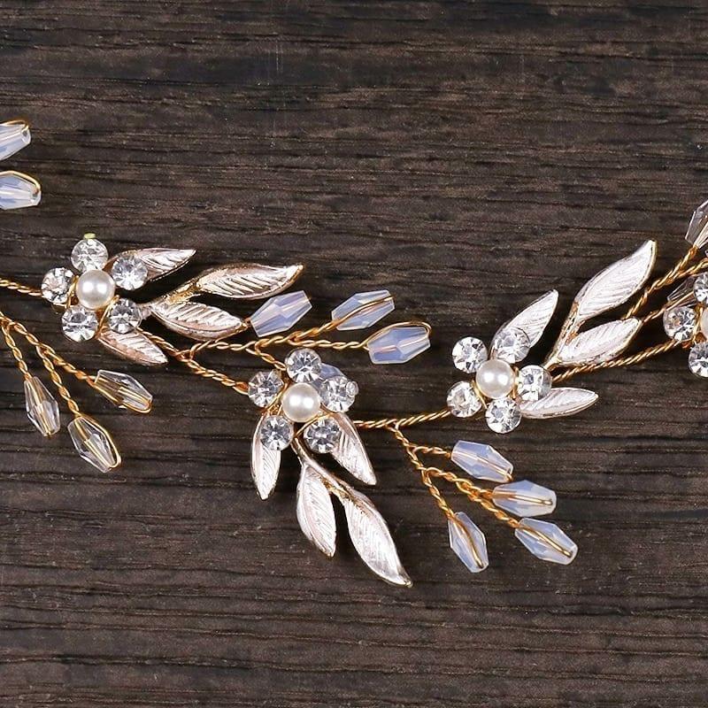 Vintage Gold Ornaments Leaves Rhinestone Flower Hairbands Wedding Hair Accessories