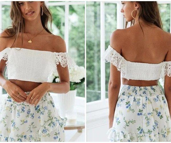 White Lace Crochet Off Shoulder Blouse Shirt Top