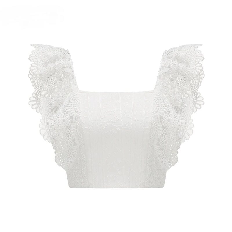 White Lace Crochet Off Shoulder Blouse Shirt Top