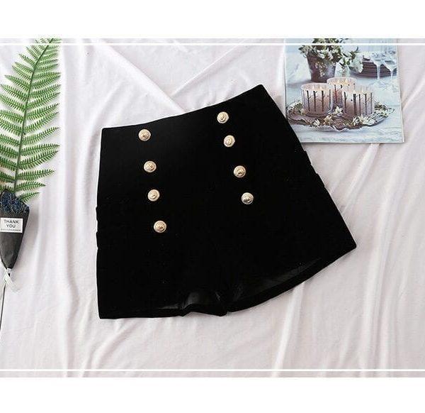 Black Buttons Zipper Fly Elegant Shorts