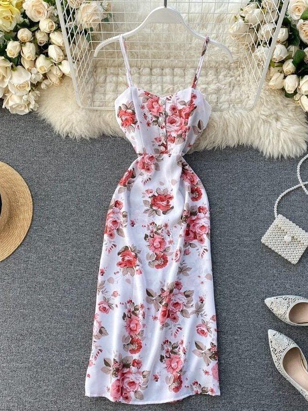 Spaghetti Strap Flower Print Split Bohemian Bandage Dress