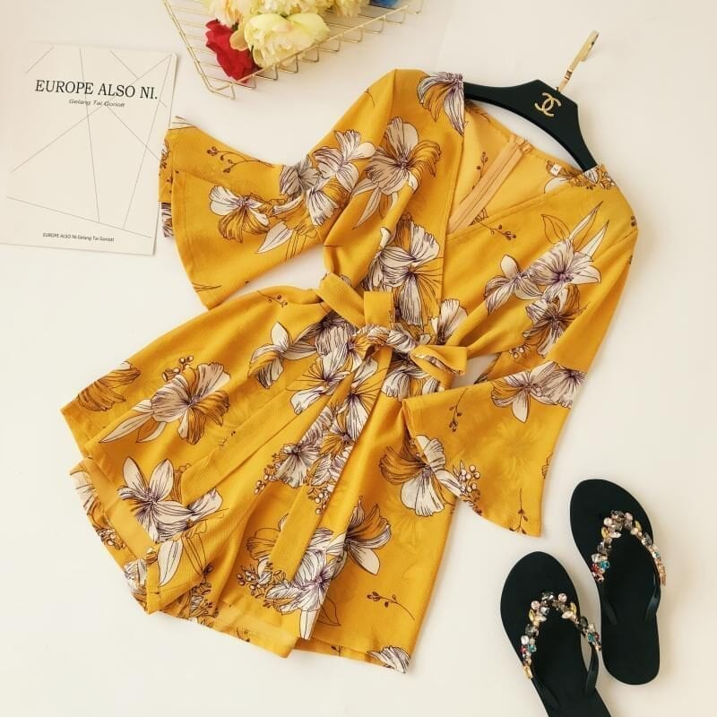 Yellow Red Floral Print Bow Wide Leg Lace Up Yellow Romper Jumpsuit
