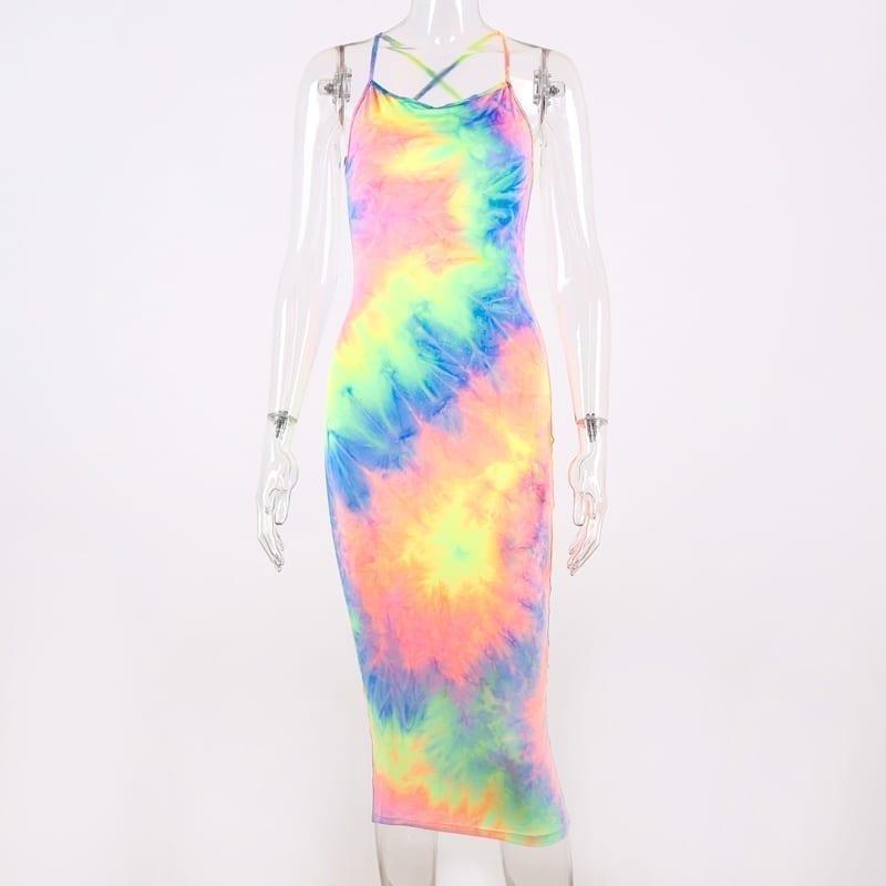Backless High Waist Bodycon Midi Dress