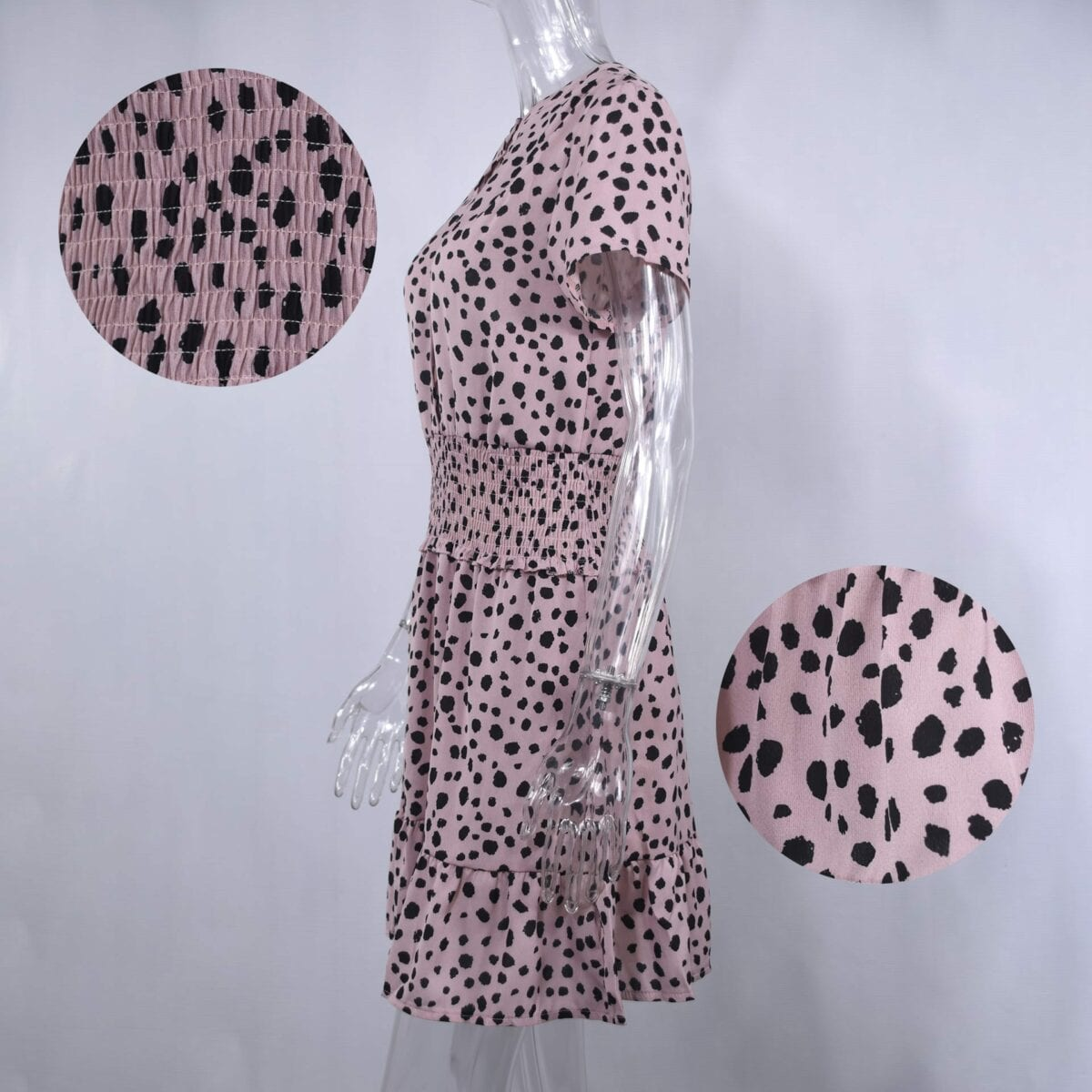 Leopard Ruffle Buttons Waisted Fitted Mini Dress