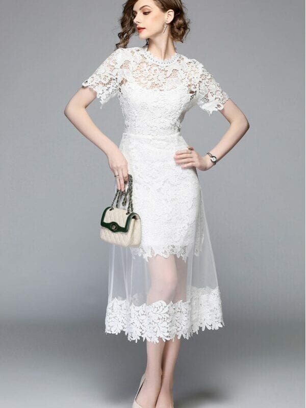 White Lace Stitching Mesh Gauze O-neck Short Sleeve Mid-calf Dress