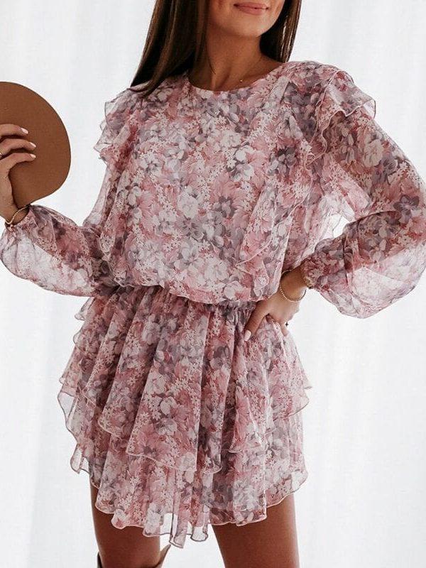Elegant Floral Print Puff Sleeve A-line Chiffon High Waist Sash Work Office Pink Dress