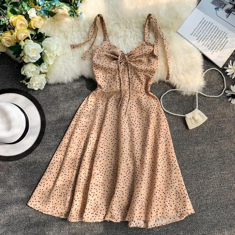 Strap V-collar Flower Printing Drawstring High Waist A-line Beach Dress
