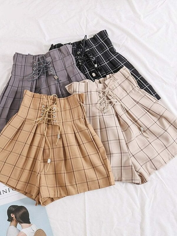 Plaid Drawstring Ribbons Elastic High Waist Shorts