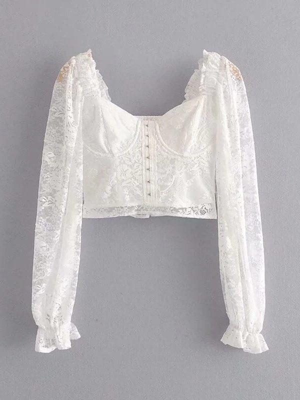 Romantic Semi-sheer White Lace Square Neck Long Sleeve Blouse Top