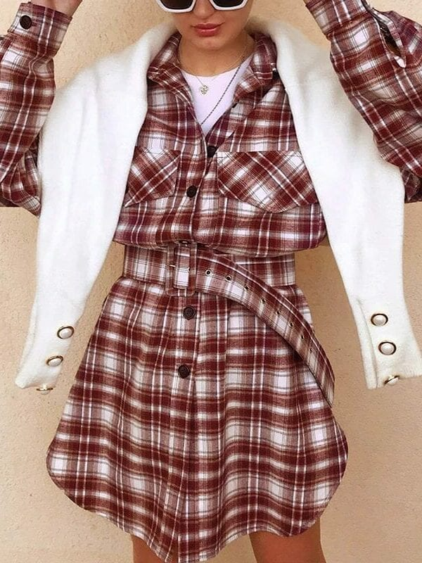 Long Sleeve High Waist Belt Plaid Button Pocket Dress