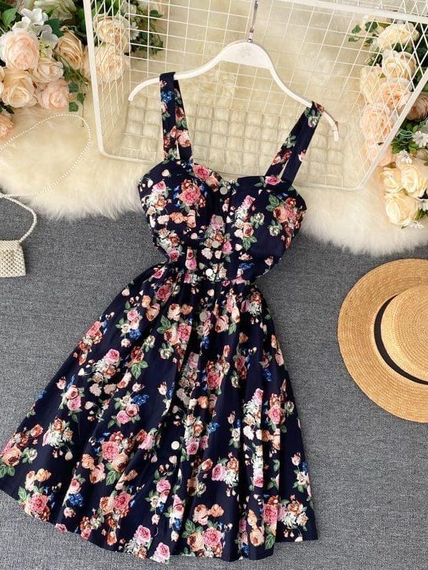 Floral Print Vintage Spaghetti Strap Retro Beach Boho Mini Dress