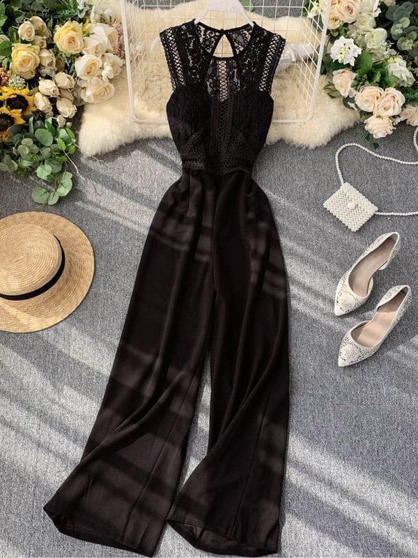 Elegant high waist hip wide leg patchwork lace hollow out sleeveless jumpsuit