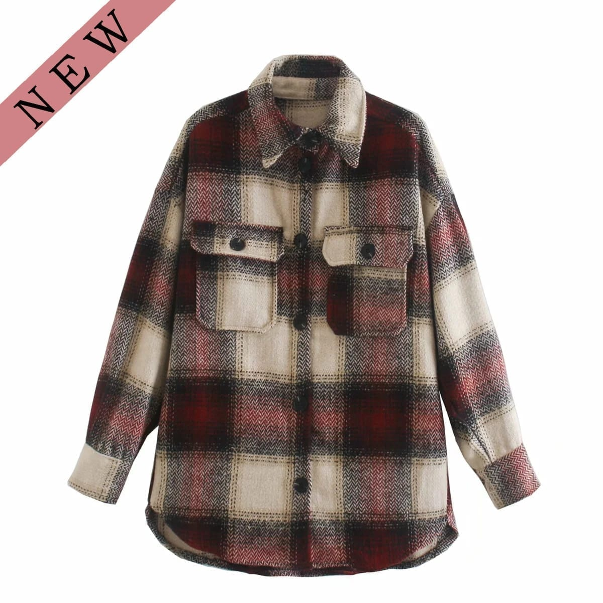 Vintage women 2020 long sleeve woolen coats fashion ladies thick plaid coat female streetwear elegant girls oversize jacket chic