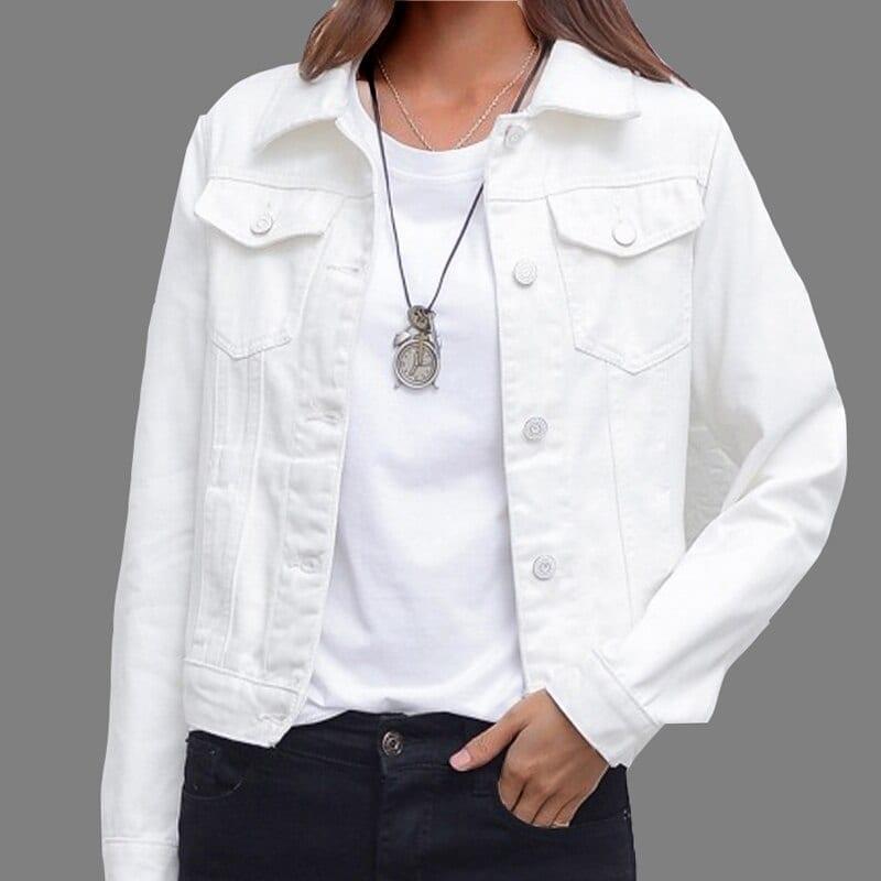 Candy color casual short denim jacket