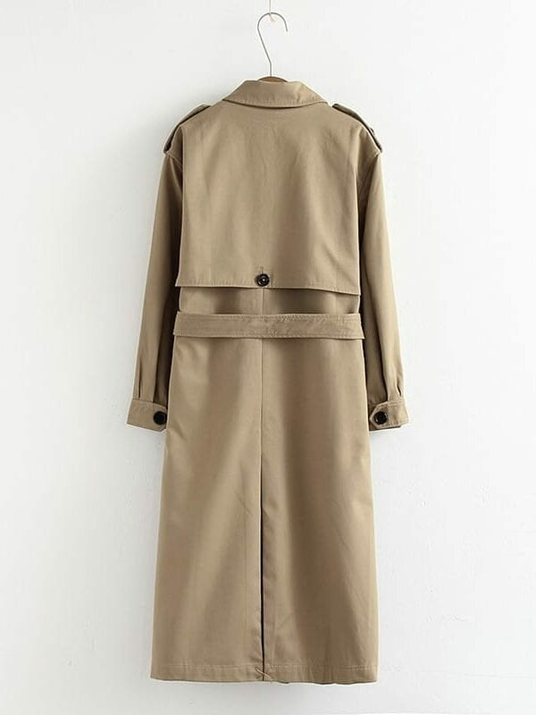 Casual solid color double breasted coat