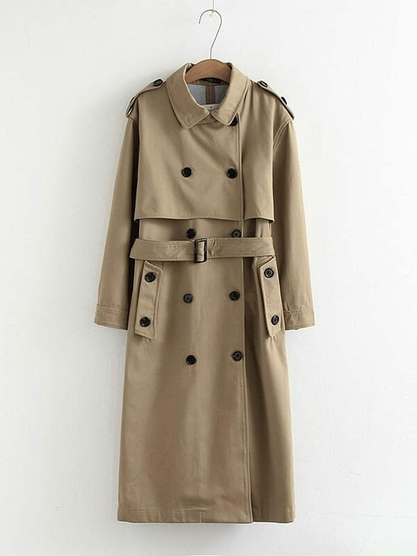 Casual solid color double breasted coat – beige, s