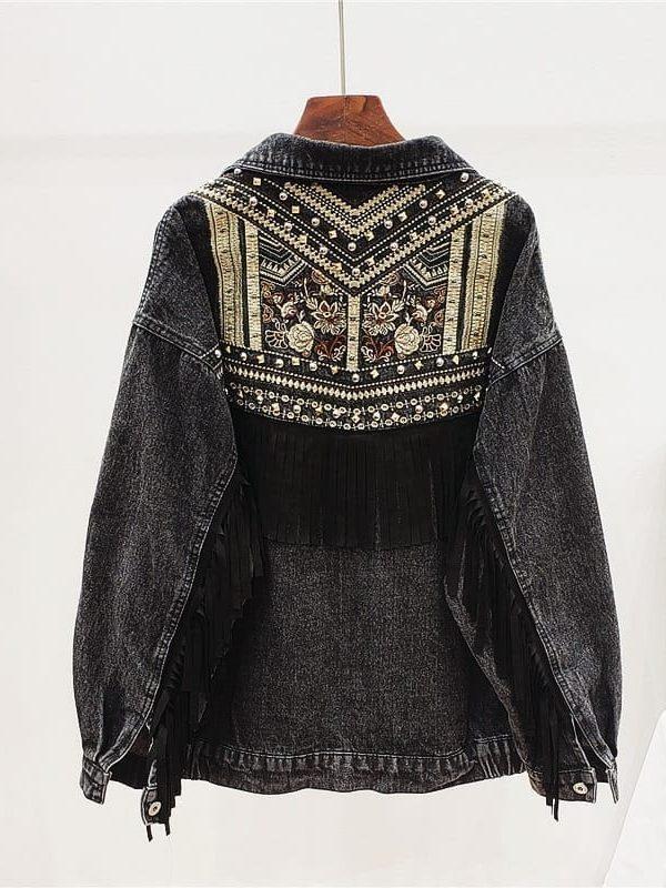 Korean floral embroidery suede fringe loose denim jacket