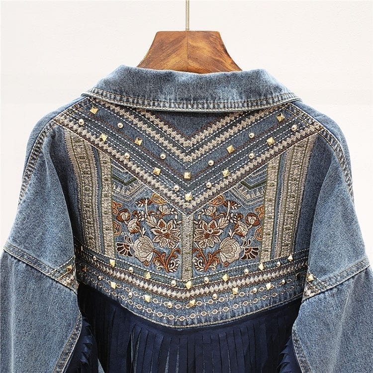 Denim Jacket Korean Floral Embroidery Suede Fringe Loose Chaquetas Mujer Coat Long Sleeve Outerwear Jacket Women Veste Femme