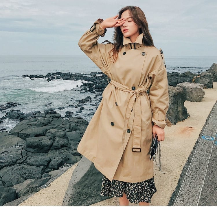 Trench Coat Long Double-Breasted Belt Coat