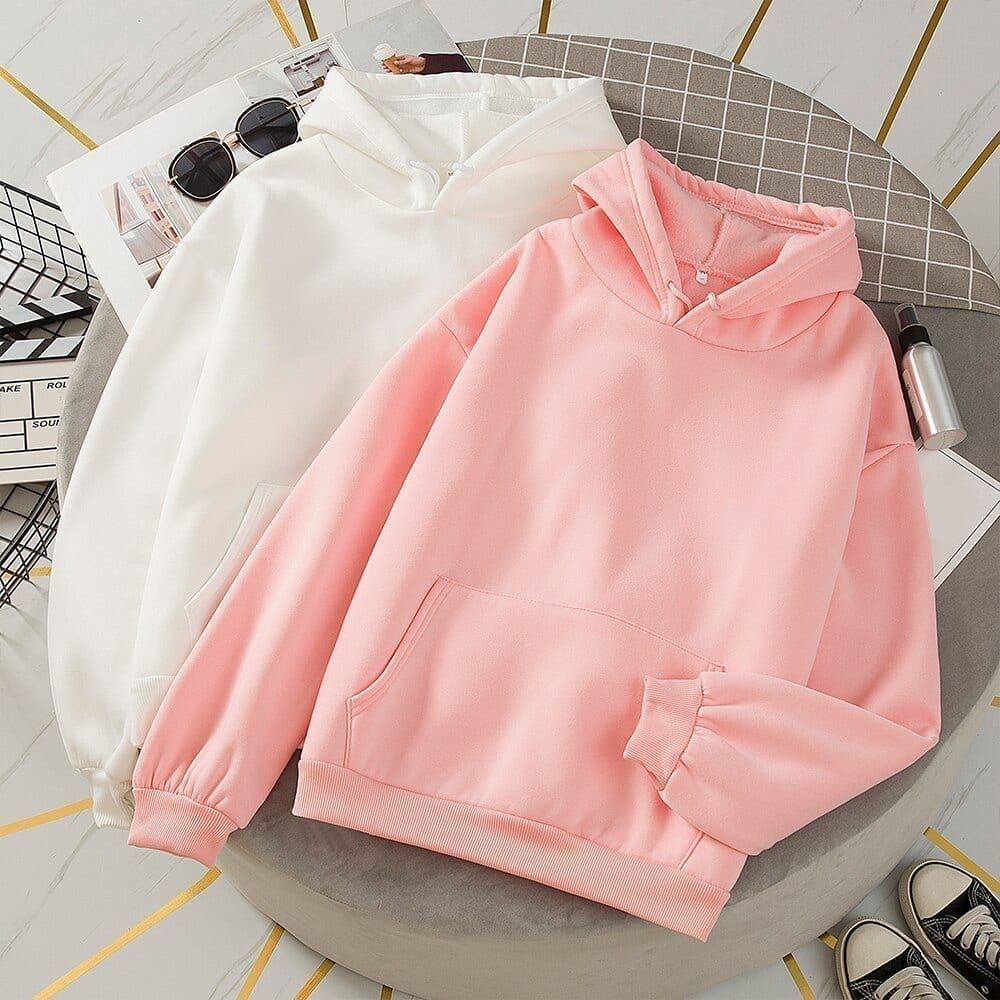 Harajuku Oversize Hoodies Solid Color Hooded Tops Women Men Sweatshirt Long Sleeve Winter Plus Velvet Thickening Coat Streetwear