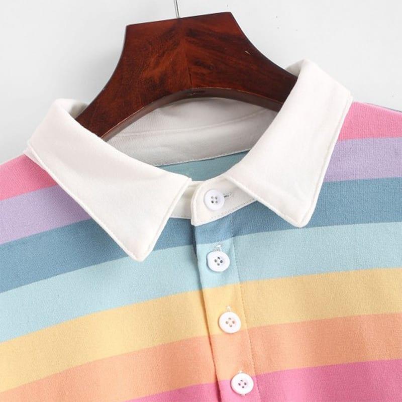 QRWR 2020 Polo Shirt Women Sweatshirt Long Sleeve Rainbow Color Ladies Hoodies With Button Striped Korean Style Sweatshirt Women