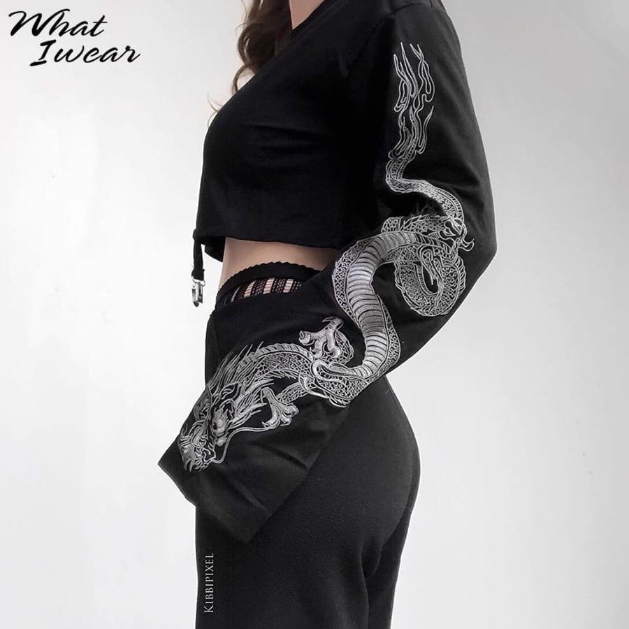 Dragon print loose short top pullover