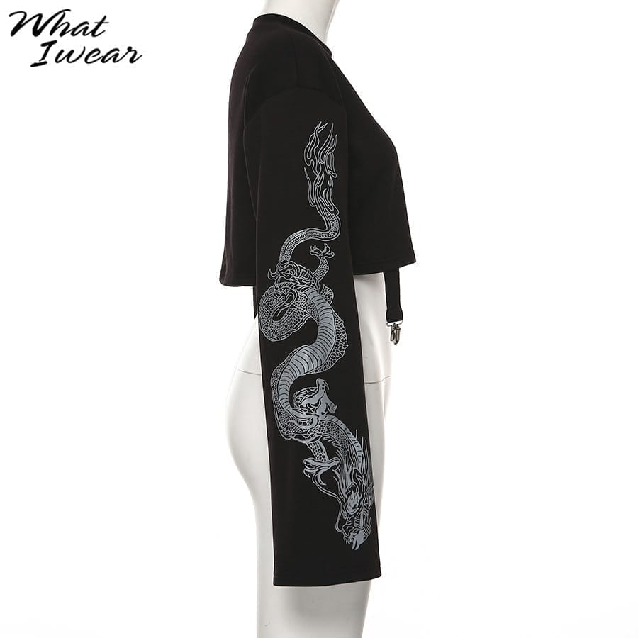 Women dragon print hoodies fashion casual female loose short top pullover sweatshirts streetwear new autumn outfit