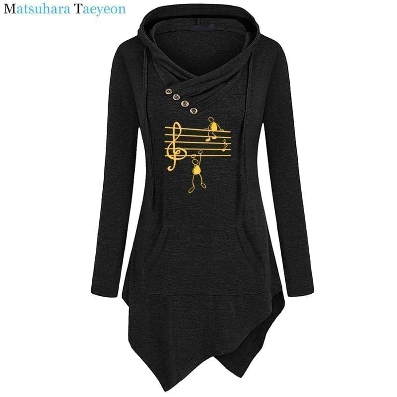 Music notes funny print long sleeve hoodie