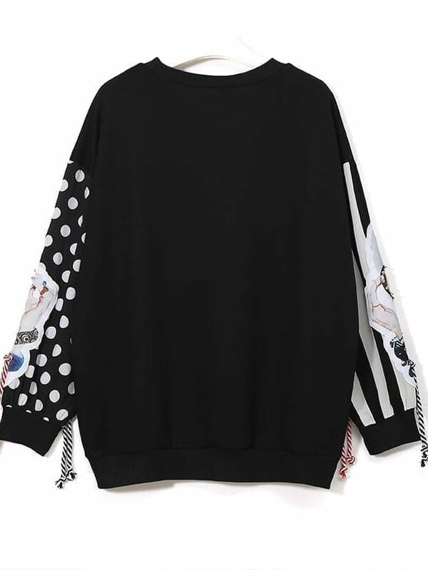 Black long sleeve patchwork print tassel pullover