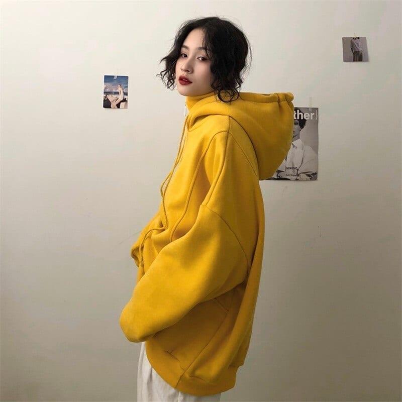 Hoodies Women Hooded Plus Velvet Thicker Long Sleeve Oversize Letter Embroidered Womens Hoodie Harajuku Korean Style Trendy Chic