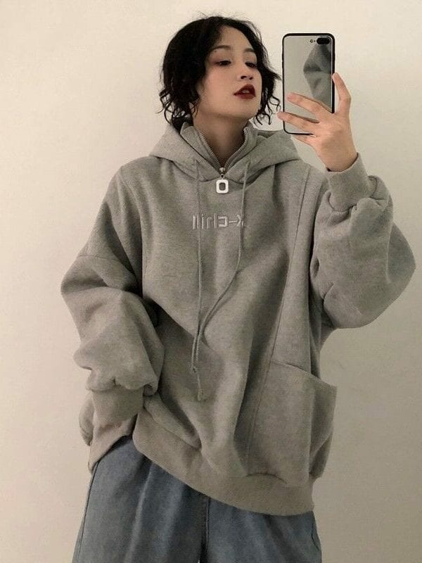 Velvet thicker long sleeve oversize letter embroidered hoodie