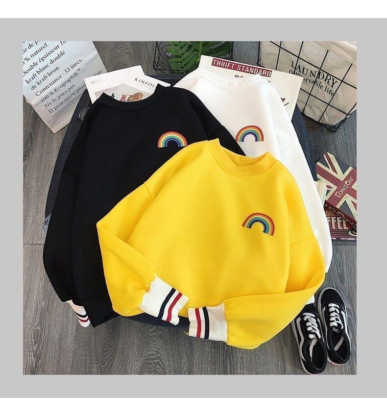 Rainbow embroidery korean sweatshirts