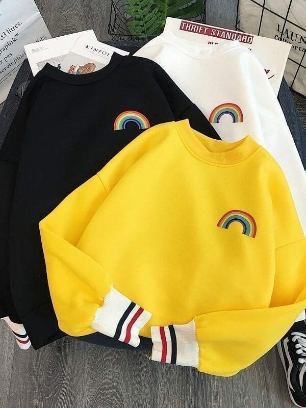 Rainbow embroidery korean sweatshirts
