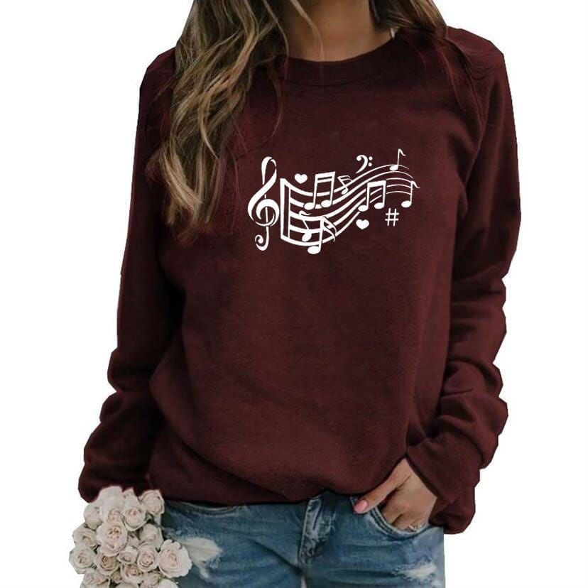 Music note hearts letter print hoodies