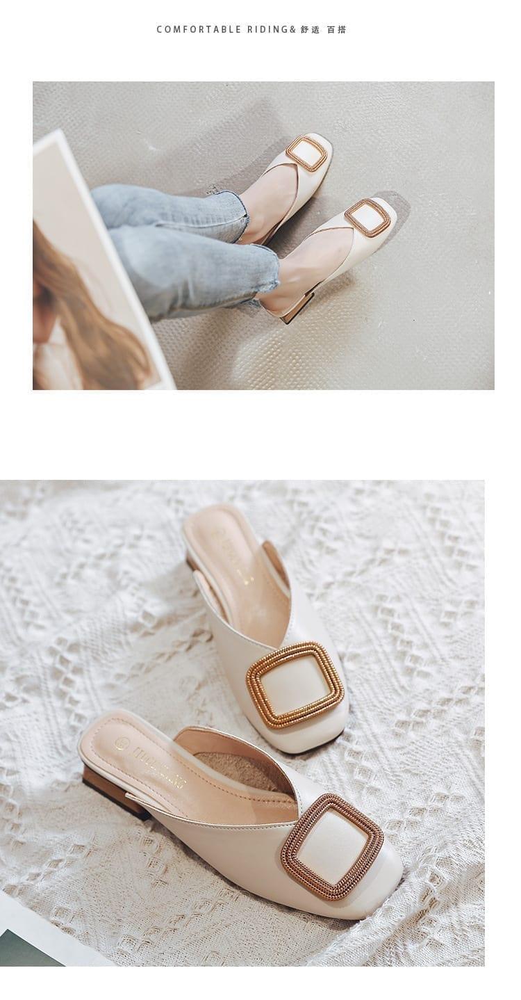 Designer Women Pumps Slippers Slip on Mules Low Heel Casual Shoes British Wooden Block Heels Summer Pumps Footwear
