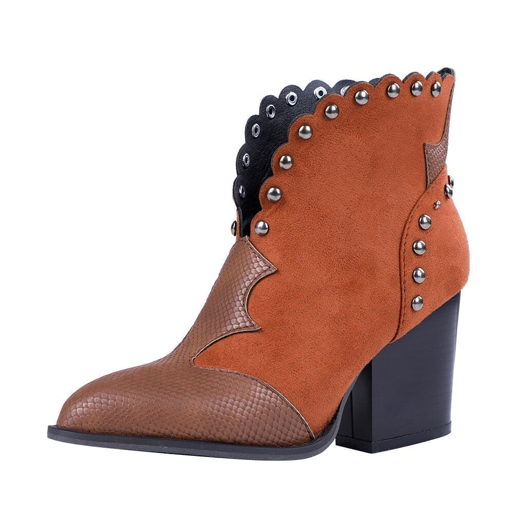Women Rivet Boots Female Autumn Winter PU Leather Cowboy Ankle Boots Pointed Toe Wedge Heel Woman Booties Snake Shoes