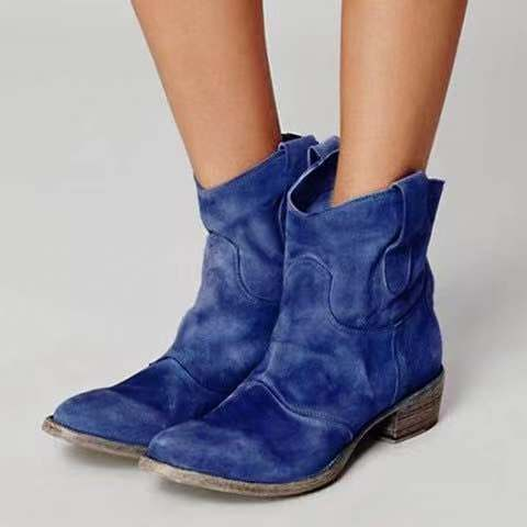 Suede ankle round toe solid motorcycle boots