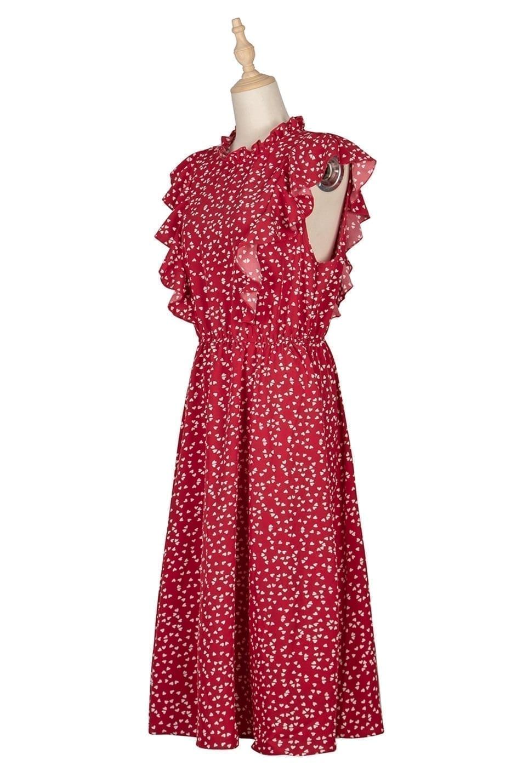 Dot Print Butterfly Sleeve Ruffles Medium Long Chiffon Dress 13