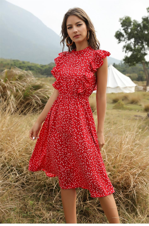 Dot Print Butterfly Sleeve Ruffles Medium Long Chiffon Dress 9