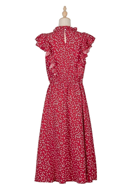 Dot Print Butterfly Sleeve Ruffles Medium Long Chiffon Dress 12